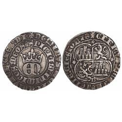 Burgos, Spain (Kingdom of Castile), real de 3 maravedis, Henry II (1369-1379), three flowers and B i