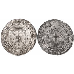Pamplona, Spain, 1 real, Ferdinand II (King of Navarre, 1512-1516), crowns in upper-left and lower-r