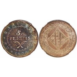 Barcelona, Spain, Jose Napoleon, 5 pesetas, 1809, encapsulated NGC AU 53.