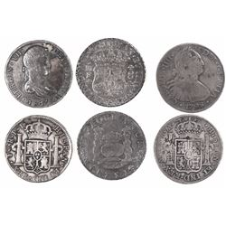 Lot of 3 Spanish colonial milled 8 reales (pillar and busts): Mexico, Ferdinand VI, 1751MF; Mexico,