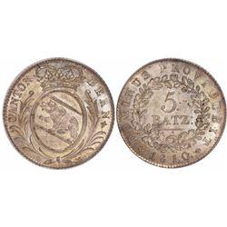 Bern, Switzerland, 5 batzen, 1810, encapsulated PCGS MS64 (old green tag).