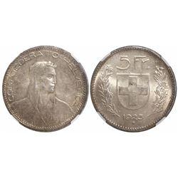 Switzerland, 5 francs, 1923B, encapsulated NGC MS 62.
