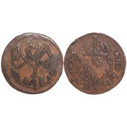 Caracas, Venezuela, copper 1/4 real, Ferdinand VII, 1816.