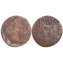 Guayana, Venezuela, copper 1/2 real, 1814.