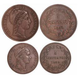 Lot of 2 Venezuelan copper 1 centavos, 1852 and 1862.