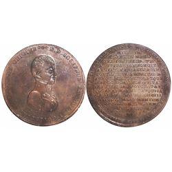 Potosi, Bolivia, large bronze medal, Ferdinand VII, 1811, Goyeneche, encapsulated NGC AU 58 BN.