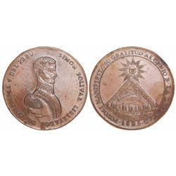 Potosi, Bolivia, large copper medal, 1825, Bolivar, rare metal for issue.