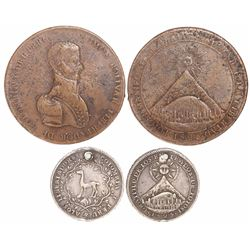 Lot of 2 Potosi, Bolivia, proclamation medals of 1825: Bolivar (large, copper) and Llama (small, sil