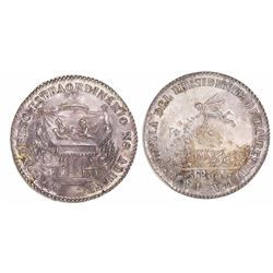 Potosi, Bolivia, 2 soles-sized silver medal issued for the 1855 Congress / resignation of Belzu, ex-