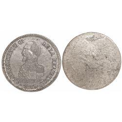 Potosi, Bolivia, uniface trial silver medal, 1863, President de Acha.