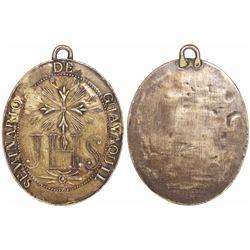 Guayaquil, Ecuador, large gilt-silver uniface religious medallion, Seminario de Guayaquil (Jesuit se
