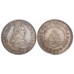 El Salvador, silver 1R-sized proclamation medal, Ferdinand VII, 1808, encapsulated ANACS AU 50.