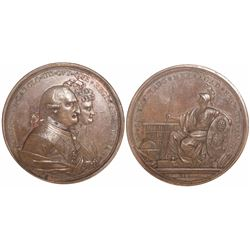 Mexico City, Mexico, large bronze medal, Charles IV, 1790, Charles IV and Queen Maria Luisa, Univers