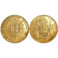 Lima, Peru, gold 8E-sized proclamation medal, 1834, Constitution, very rare. Ex-Eliasberg.