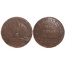 Callao, Peru, copper medal, 1834, General and President Orbegoso.
