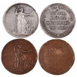 Lot of 2 Lima, Peru, large Constitution proclamation medals, 1839, one in silver and one in copper.