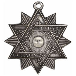 Callao, Peru, uniface silver medal in the form of a 12-point star with loop at top, 1849, Masonic.