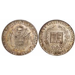 Lima, Peru, 4 soles-sized silver proclamation medal, 1856, Constitution / National Convention, ex-De