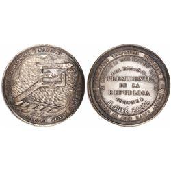 Callao, Peru, large silver medal, 1870, Callao harbor dam.