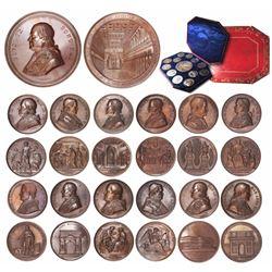 Set of 13 bronze medals for Pope Pius IX, dated 1847-1864, in original case.