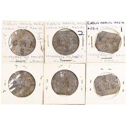 """Set of 3 Santo Domingo, Dominican Republic, base-metal token 1, 2 and 5 cents, """"CMM"""" (Carlos Manuel"""