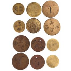Lot of 6 brass gambling tokens, ca. 1860, from a  China Town  area of Lima, Peru.