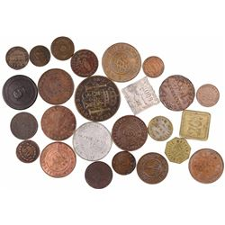 Large lot of 25 Peruvian tokens in various materials (mostly copper/brass but some aluminum and one
