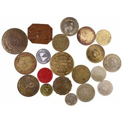Lot of 20 Puerto Rico hacienda tokens in various metals (1900s).