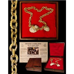 Complete gold  wedding  chain, uncleaned with shells attached, 74 links, 291.13 grams total, housed