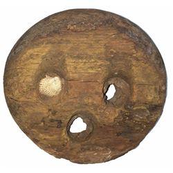 Colonial or Revolutionary War-period wooden deadeye, encrusted as found.