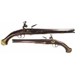 """European flintlock pistol signed by owner or maker """"E. Covna,"""" 1700s."""
