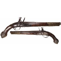 European flintlock officer's pistol, 1700s.