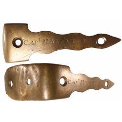 "Brass musket or blunderbuss buttplate engraved ""Capt Mansvelt,"" 1700s."