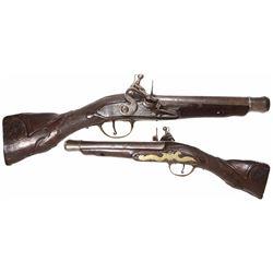 Northern European flintlock blunderbuss pistol, 1700s-1800s.
