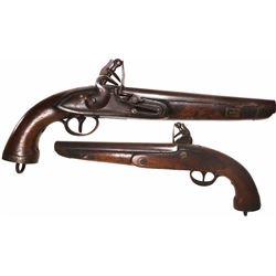 """Northern European naval flintlock """"sea service"""" pistol, 1800s."""