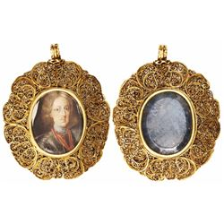 Gold filigree pendant (22K?) featuring a young Peter the Great of Russia in watercolor on vellum lai