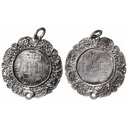 Silver filigree Jesuit medallion engraved with Christogram I-H-S on one side and date 1790 and initi