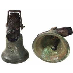 French bronze ship's watch bell, 1700s, with original wood/iron yoke and hardware.