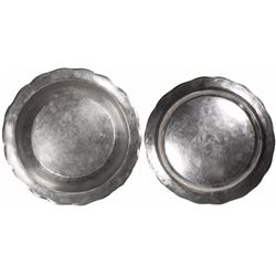 Spanish colonial silver bowl, 1700s, with script-MF monogram on bottom of rim.