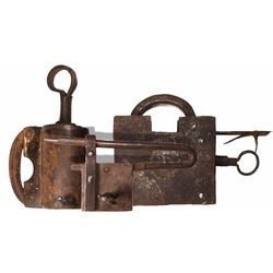 Lot of 3 iron padlocks (1 large, 1 medium and 1 small), all with keys, Spanish colonial, 1700s-1800s