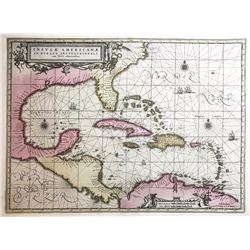 """Dutch copperplate-engraved map of the Caribbean and surrounding land entitled """"Insvlae Americanae in"""