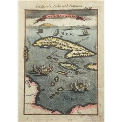 """German edition (1719) of a French map of Cuba and Jamaica entitled """"Die Inseln Cuba und Iamaica,"""" by"""