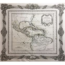"""French map of the Caribbean and surrounding areas entitled """"Guayane, Terre Firme, Isles Antilles, et"""
