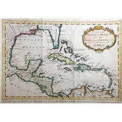 """French copperplate-engraved map of the Caribbean entitled """"Carte du Gophe du Mexique et des Isles de"""