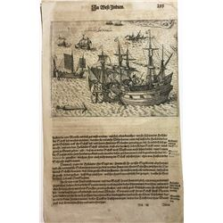 """German woodcut engraving of Manilla galleons entitled """"Schlacht fur Manille"""" (early 1600s), copied f"""