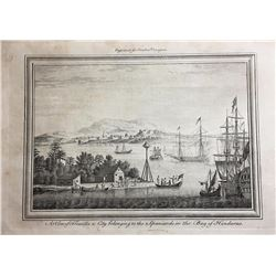 """British copperplate engraving (ca. 1768) entitled """"A View of Truxillo a City belonging to the Spania"""