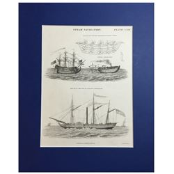 """Scottish copperplate engraving by W.H. Lizars entitled """"STEAM NAVIGATION"""" (Plate CXVI), printed in E"""