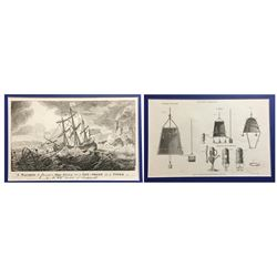 """Lot of 2 British copperplate engravings entitled """"A Machine to Prevent a Ship's driving on a Lee-Sho"""