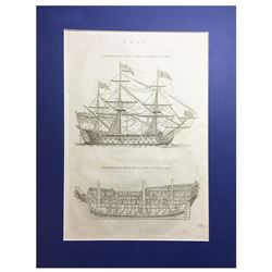 """British copperplate engraving by I(saac) Taylor entitled """"SHIP / A First Rate Ship of War with Riggi"""
