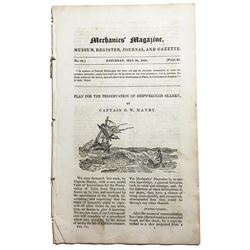"British Mechanics' Magazine article from the May 28, 1825, issue entitled ""Plan for the Preservation"